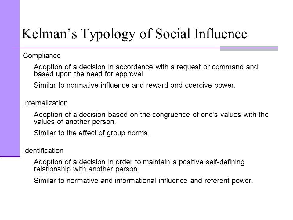 Kelman's Typology of Social Influence