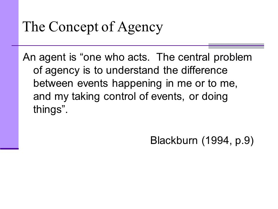 The Concept of Agency