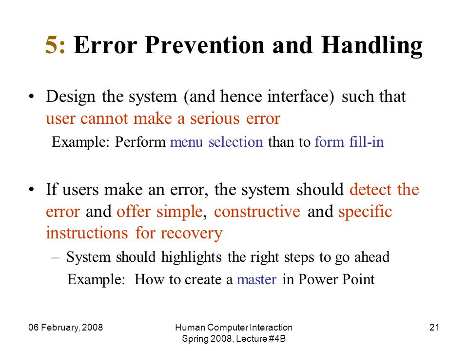 5: Error Prevention and Handling