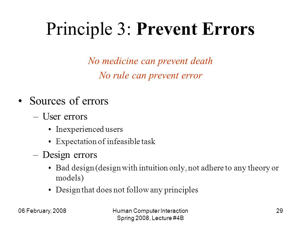 Principle 3: Prevent Errors