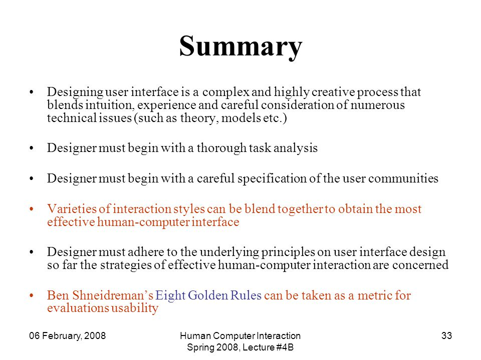 Human Computer Interaction Spring 2008, Lecture #4B