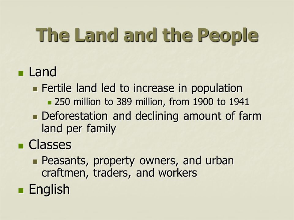 The Land and the People Land Classes English