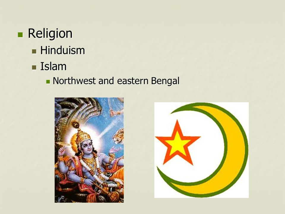 Religion Hinduism Islam Northwest and eastern Bengal