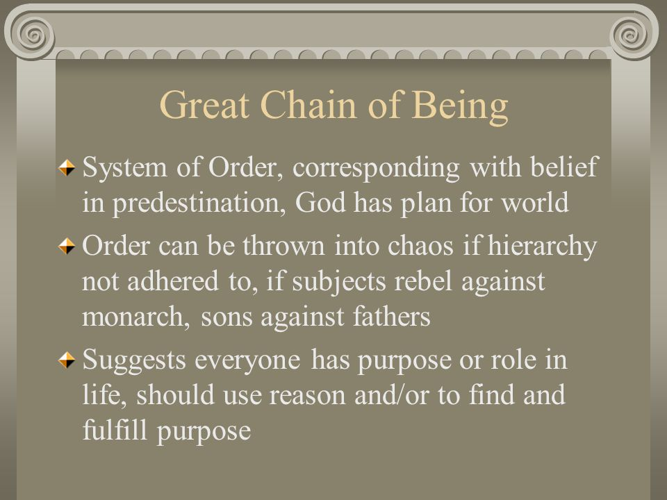 Great Chain of Being System of Order, corresponding with belief in predestination, God has plan for world.