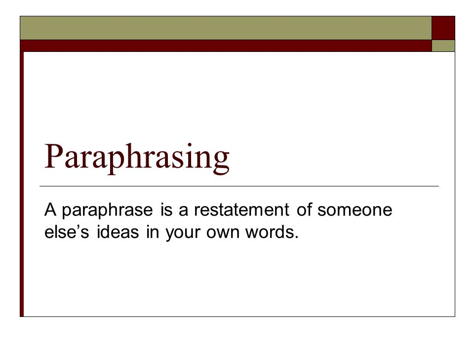 paraphrasing in thesis