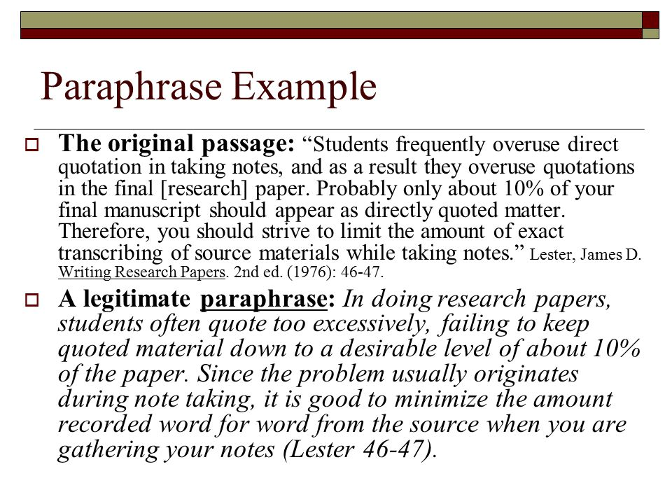 how often do paraphrases need citations in a research paper There are different ways that you can make citations within your paper research paper text paraphrasing is often to paraphrase in a research paper.