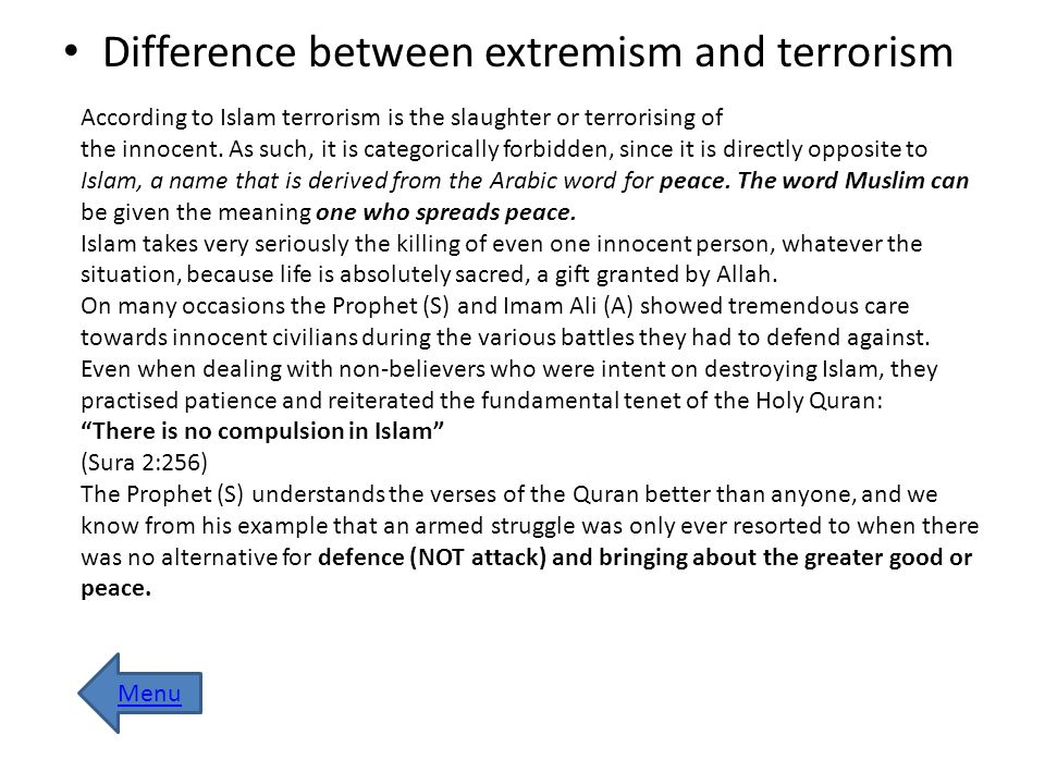 Difference between extremism and terrorism