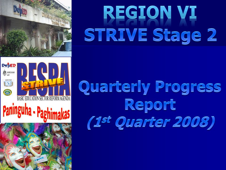 Region VI STRIVE Stage 2 Quarterly Progress Report (1st Quarter 2008)