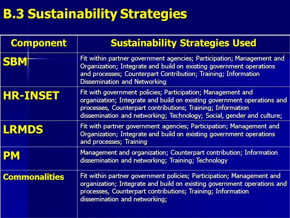 B.3 Sustainability Strategies