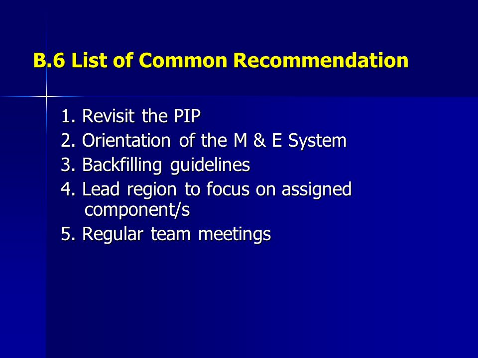 B.6 List of Common Recommendation