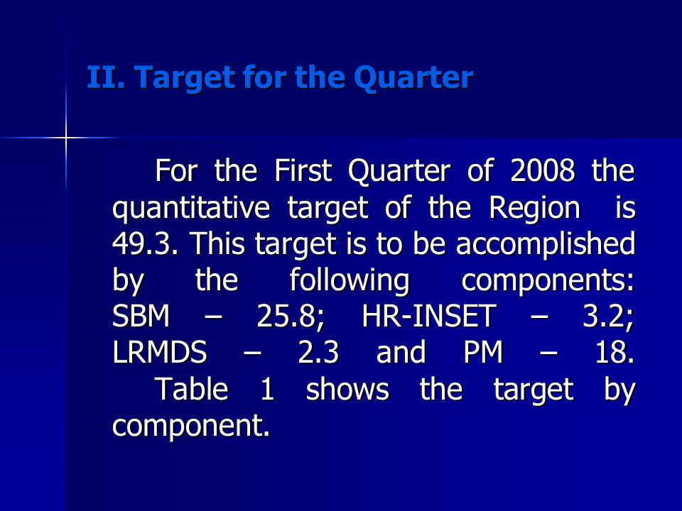 II. Target for the Quarter
