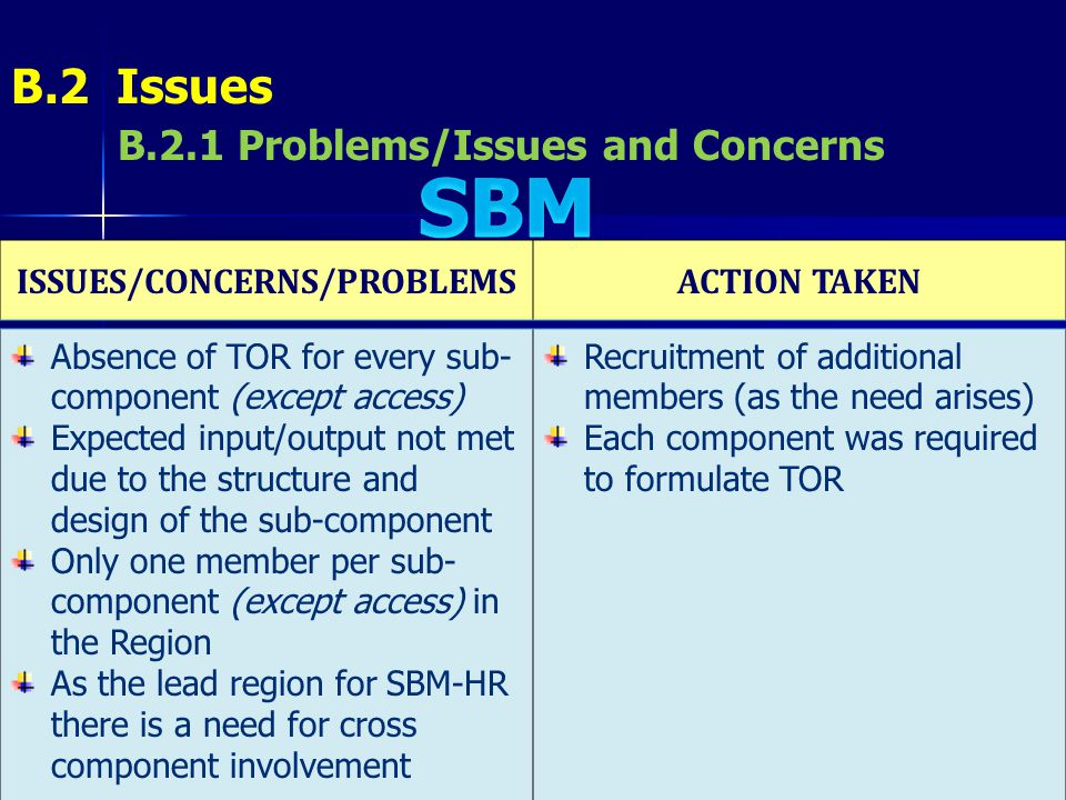 ISSUES/CONCERNS/PROBLEMS