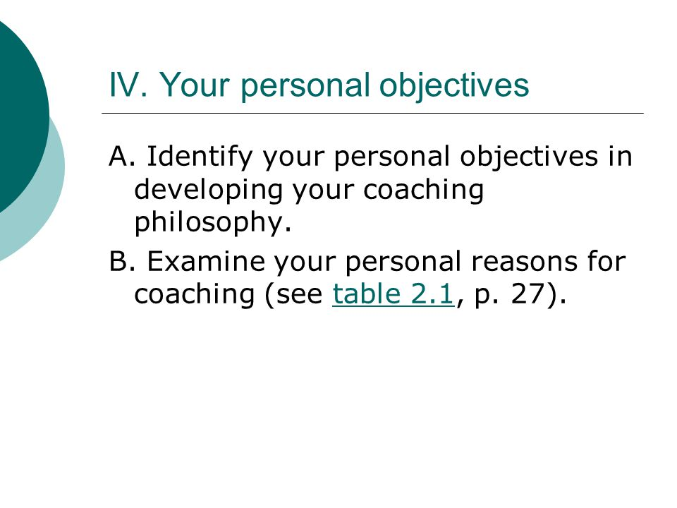 IV. Your personal objectives