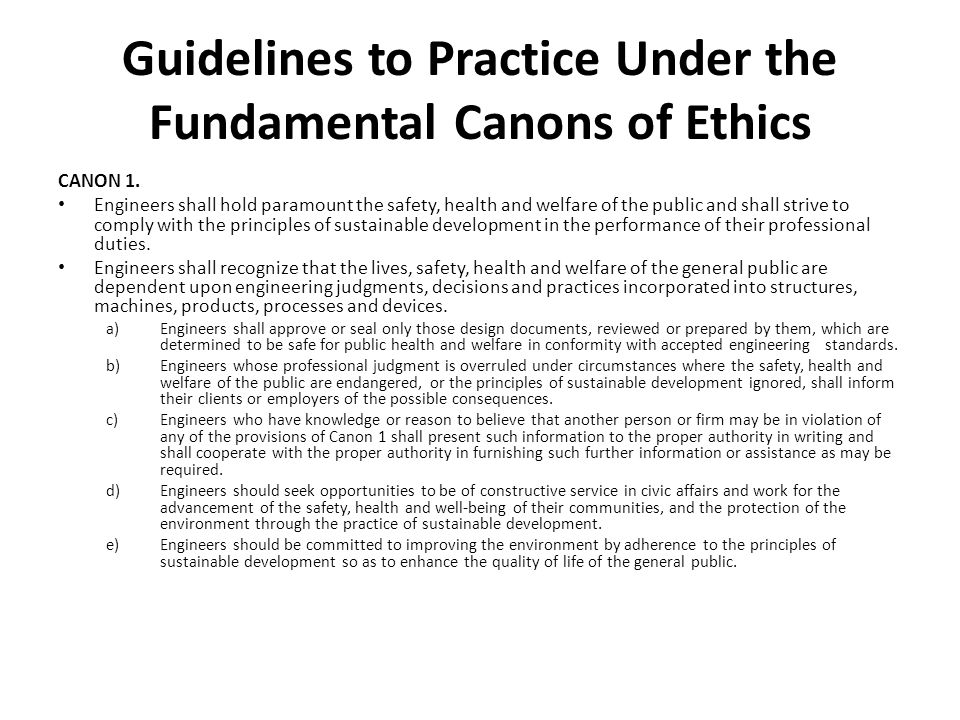Guidelines to Practice Under the Fundamental Canons of Ethics