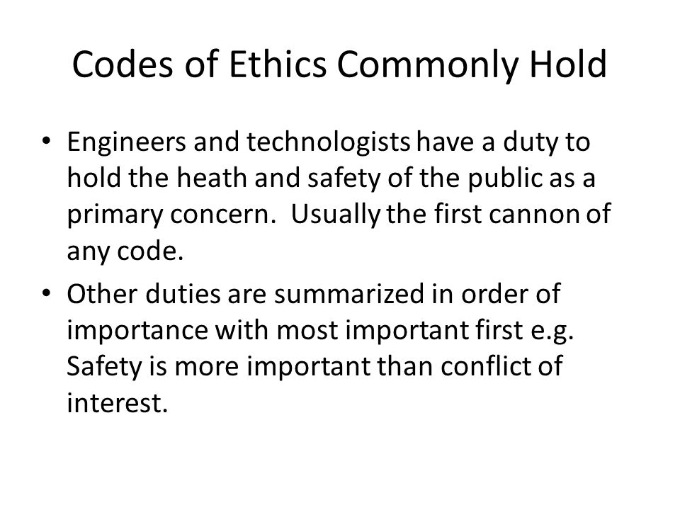 Codes of Ethics Commonly Hold