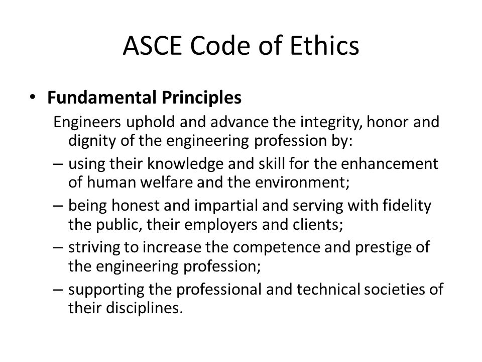 ASCE Code of Ethics Fundamental Principles