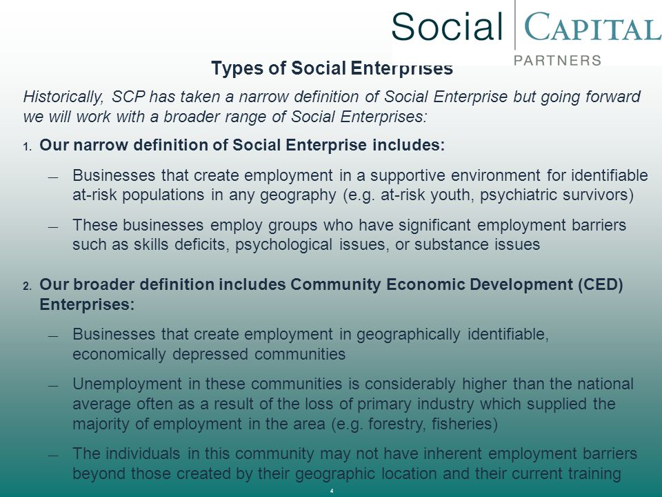 Types of Social Enterprises