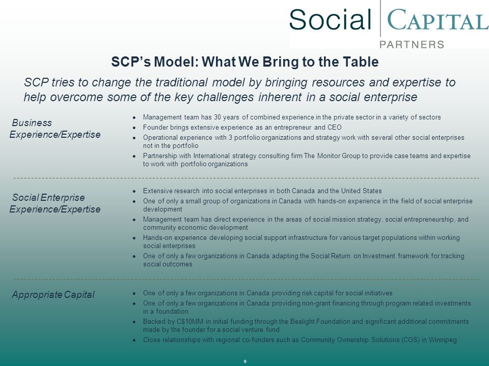 SCP's Model: What We Bring to the Table