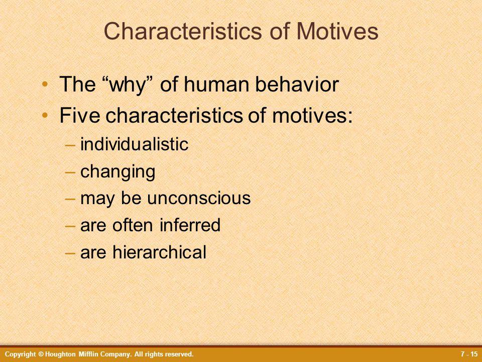 Characteristics of Motives