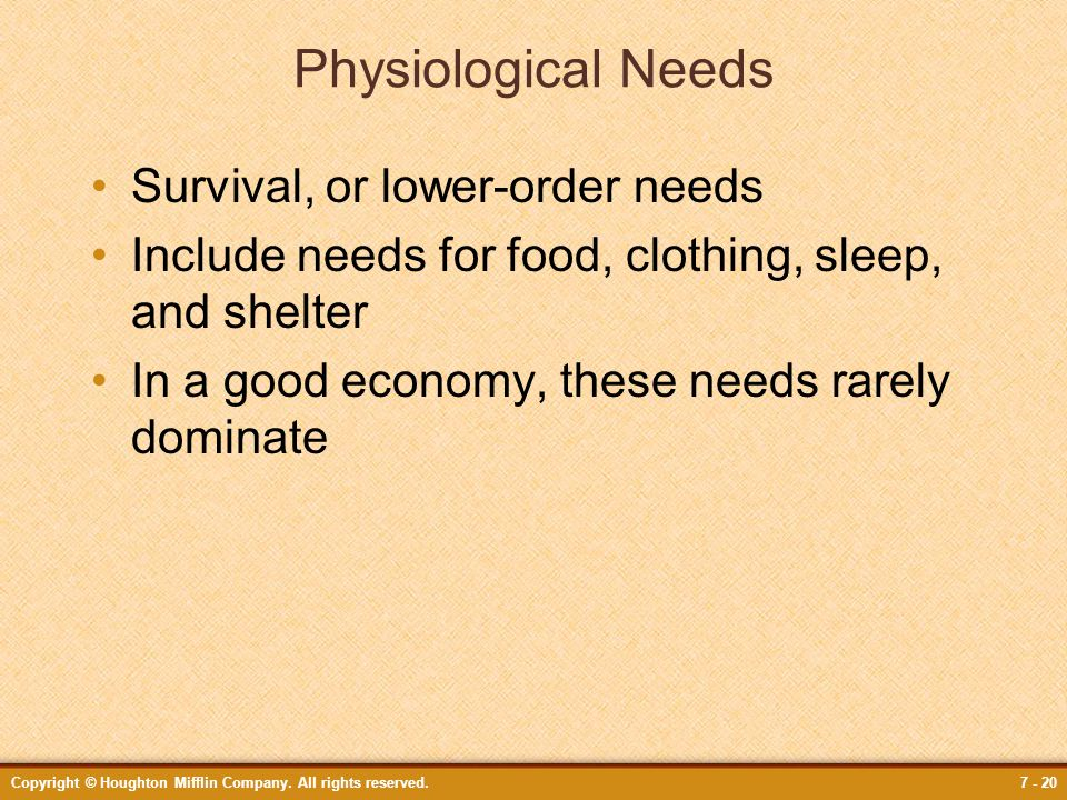 Physiological Needs Survival, or lower-order needs