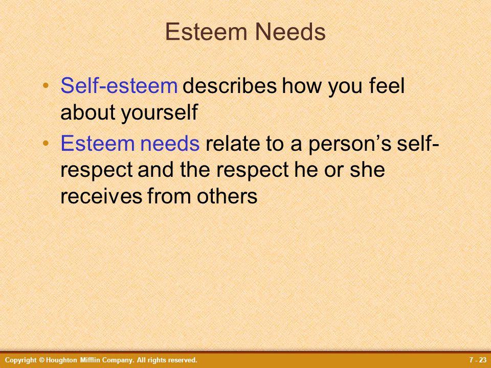 Esteem Needs Self-esteem describes how you feel about yourself