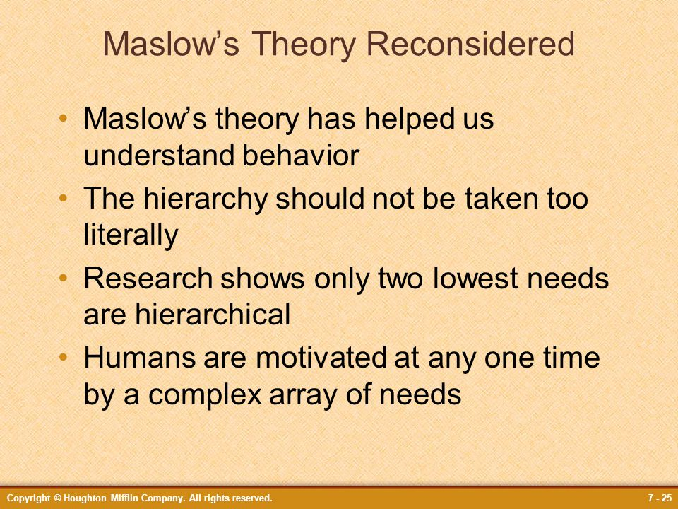 Maslow's Theory Reconsidered