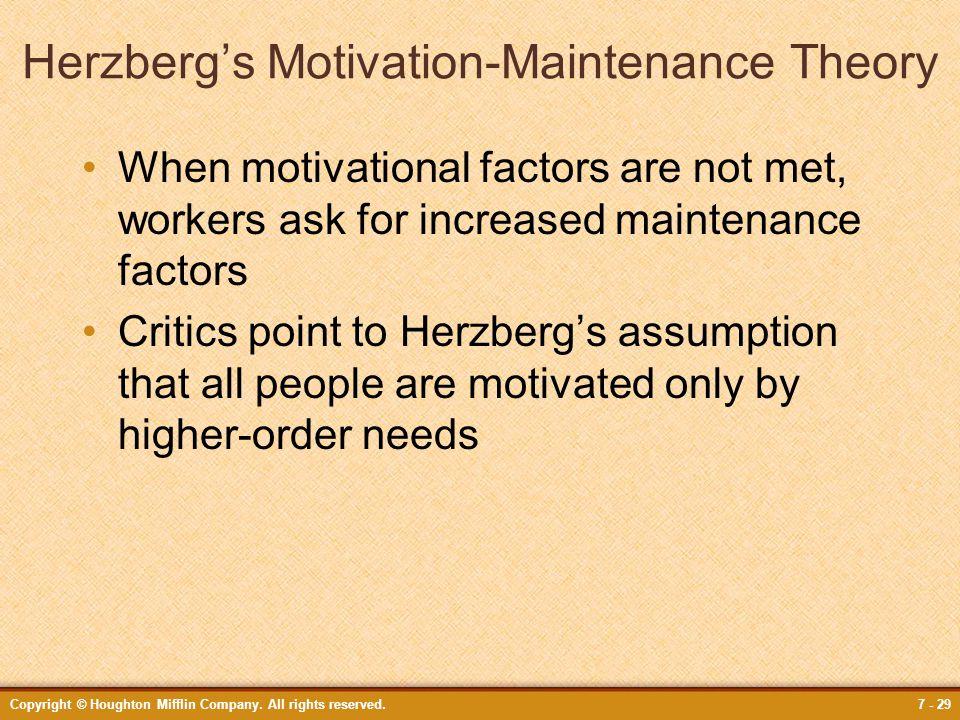 Herzberg's Motivation-Maintenance Theory