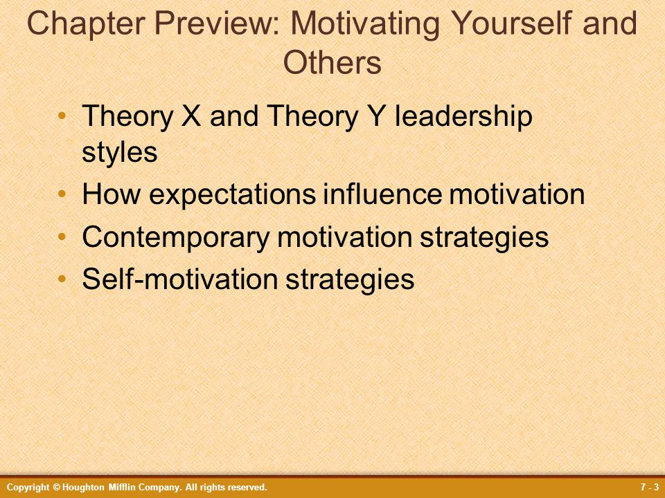Chapter Preview: Motivating Yourself and Others