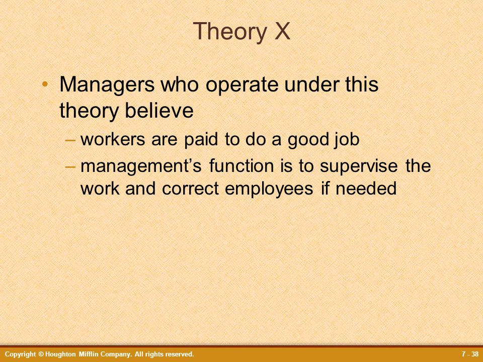 Theory X Managers who operate under this theory believe