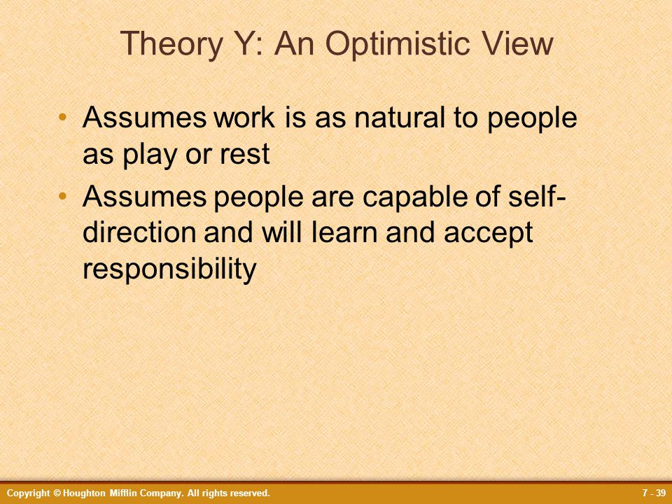 Theory Y: An Optimistic View