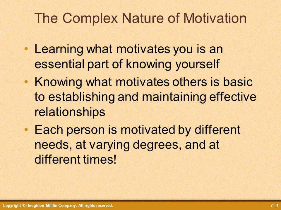 The Complex Nature of Motivation