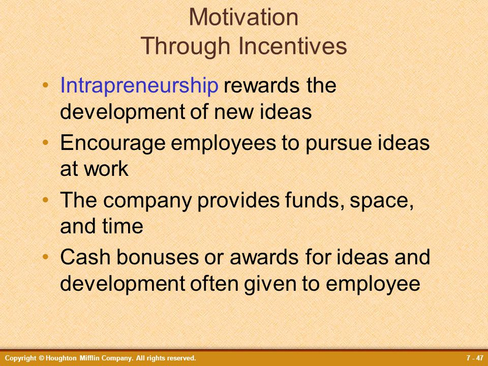 Motivation Through Incentives