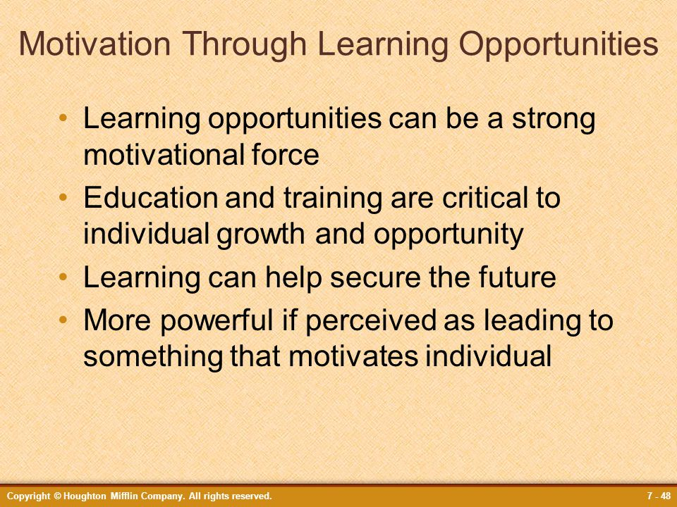 Motivation Through Learning Opportunities