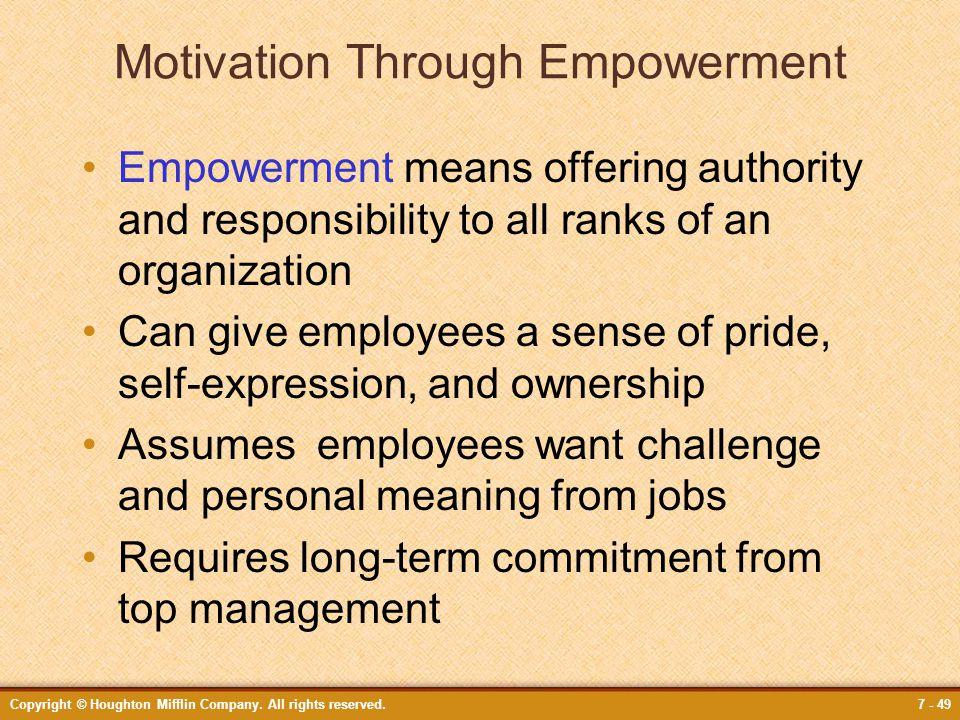 Motivation Through Empowerment