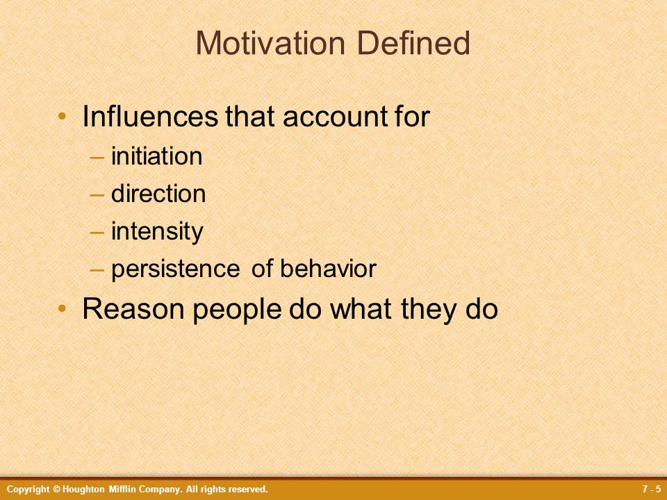 Motivation Defined Influences that account for