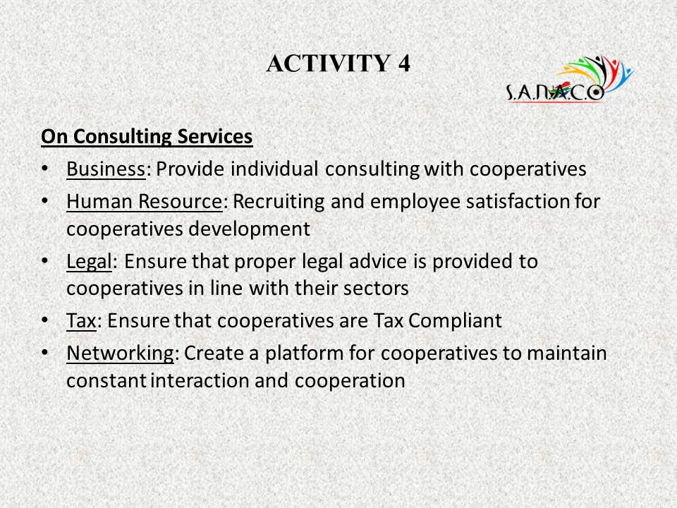 ACTIVITY 4 On Consulting Services