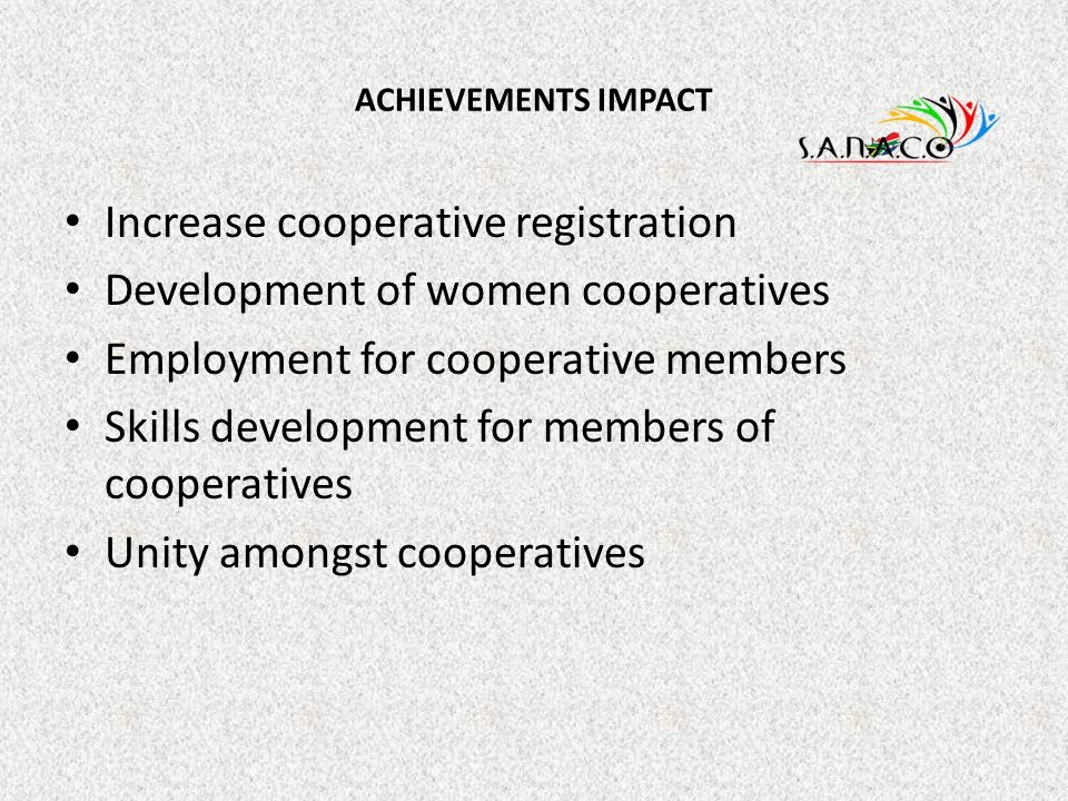 Increase cooperative registration Development of women cooperatives