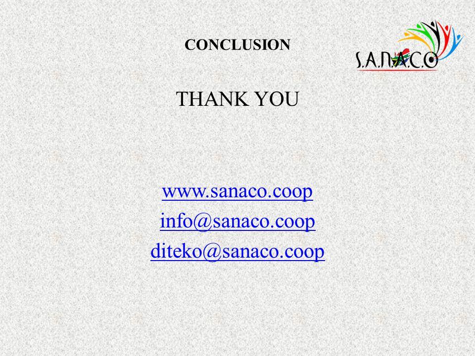 THANK YOU www.sanaco.coop info@sanaco.coop diteko@sanaco.coop