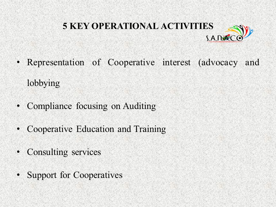 5 KEY OPERATIONAL ACTIVITIES