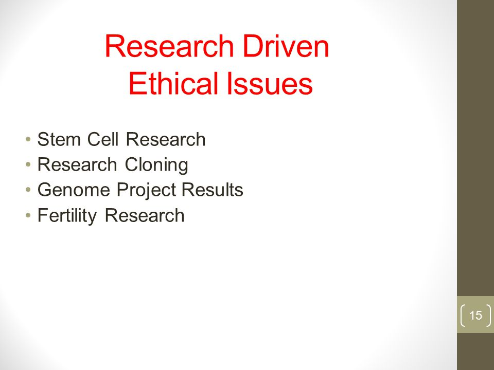 Research Driven Ethical Issues
