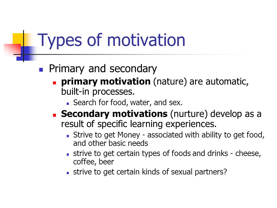 Types of motivation Primary and secondary