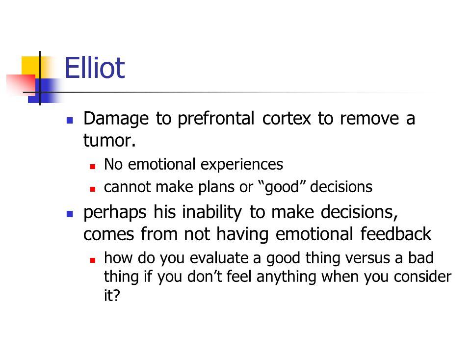 Elliot Damage to prefrontal cortex to remove a tumor.