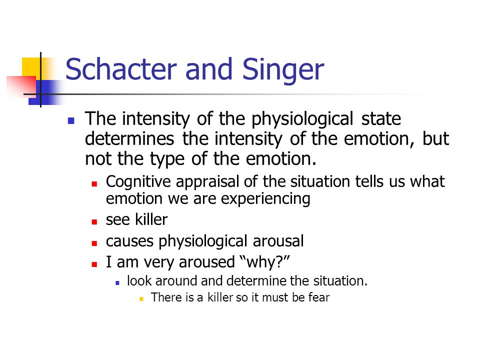 Schacter and Singer The intensity of the physiological state determines the intensity of the emotion, but not the type of the emotion.