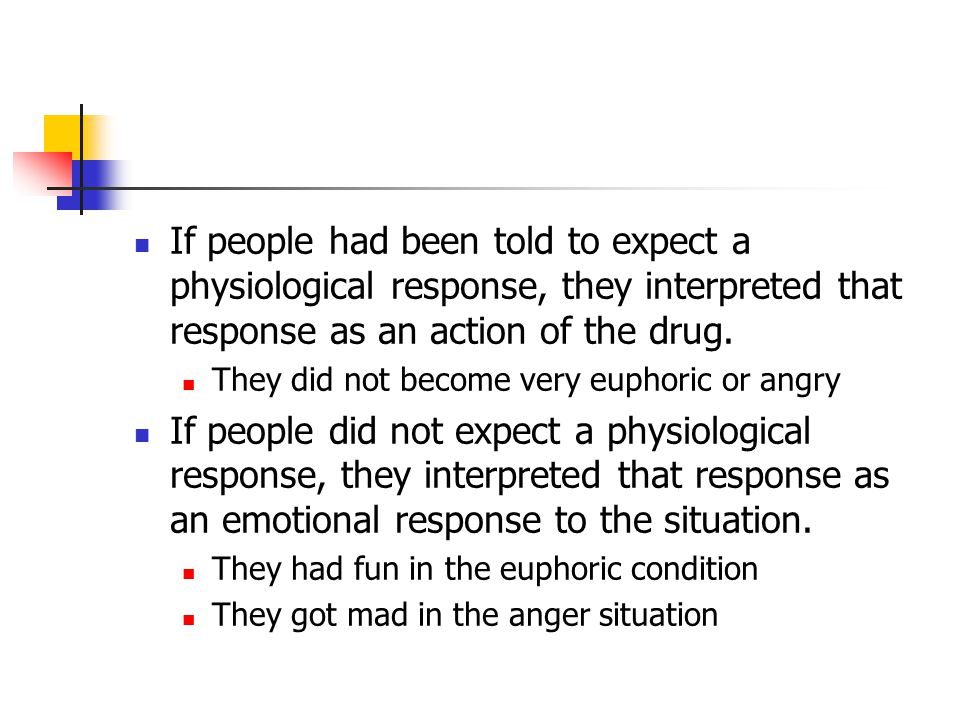 If people had been told to expect a physiological response, they interpreted that response as an action of the drug.