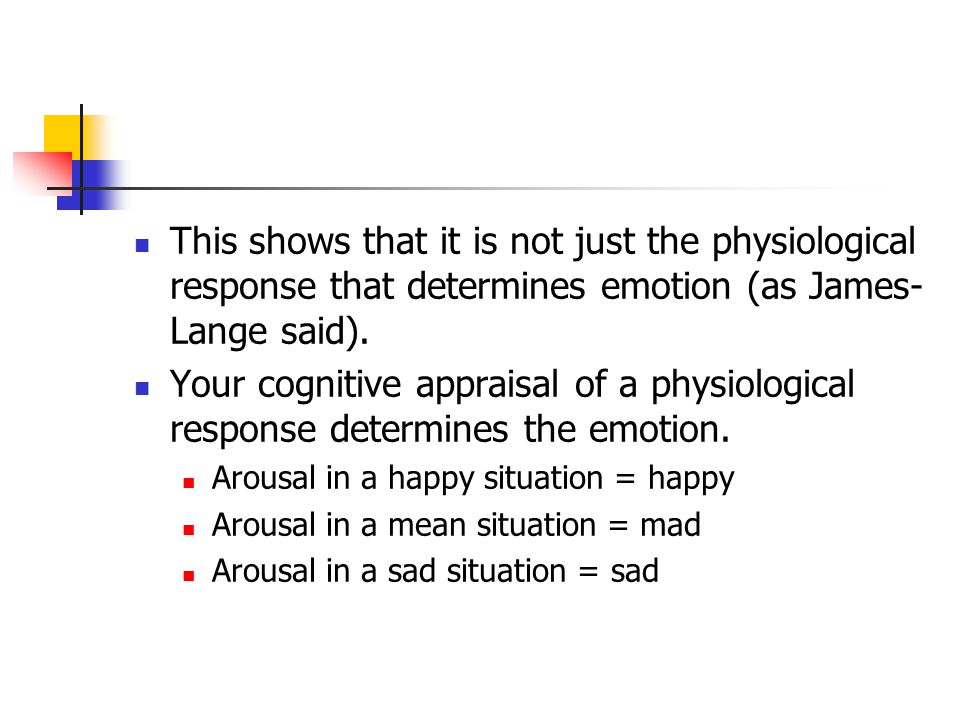 This shows that it is not just the physiological response that determines emotion (as James-Lange said).