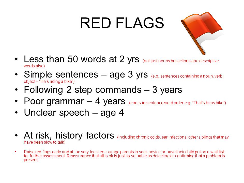 RED FLAGS Less than 50 words at 2 yrs (not just nouns but actions and descriptive words also)