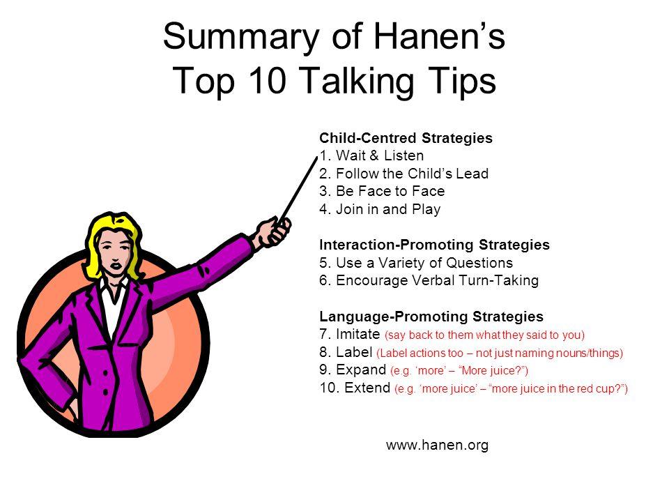 Summary of Hanen's Top 10 Talking Tips