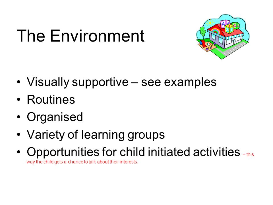 The Environment Visually supportive – see examples Routines Organised