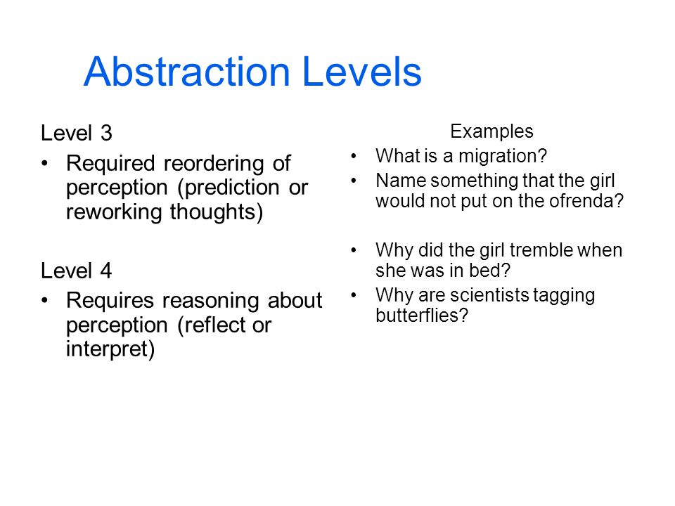 Abstraction Levels Level 3