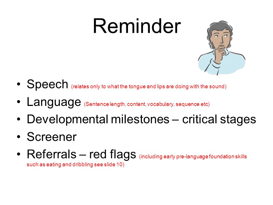 Reminder Speech (relates only to what the tongue and lips are doing with the sound) Language (Sentence length, content, vocabulary, sequence etc)